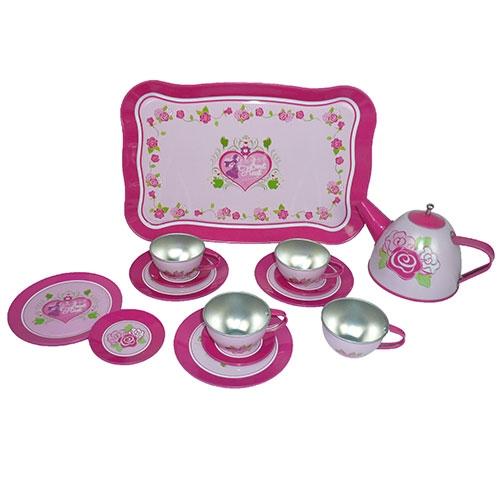 Servies tin roze hart in doos