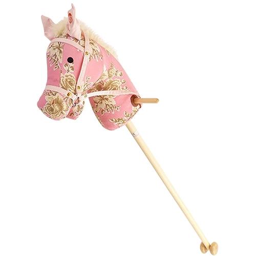 Stokpaard roze bloem met geluid