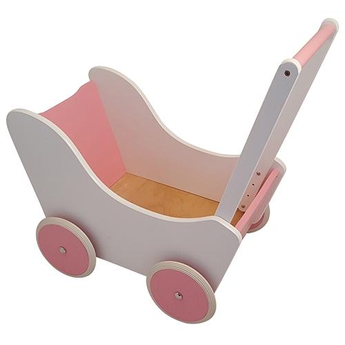 Poppenwagen wit met roze; exclusief dekje