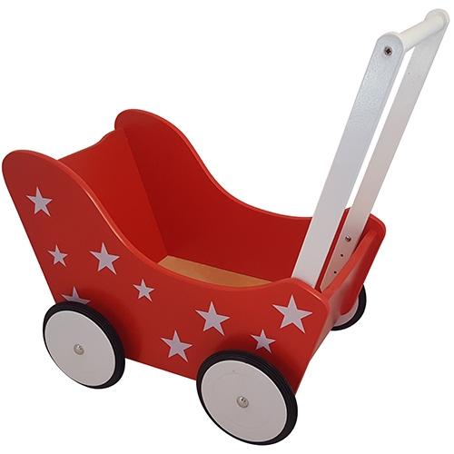 Poppenwagen met sterretjes rood; exclusief dekje