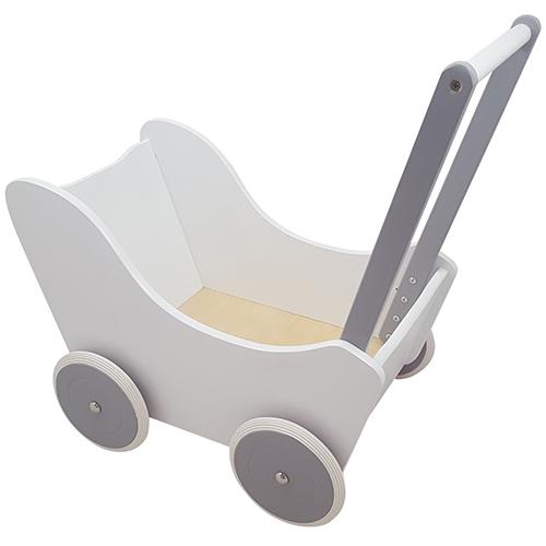 Poppenwagen wit/zilver; exclusief dekje