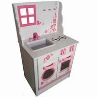Fornuis wit/roze; Hoogte blad 45 CM