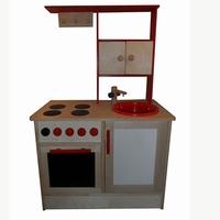 Keuken midden met rode achterkant