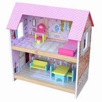Poppenhuis roze dak klein; inclusief meubels