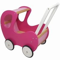 Poppenwagen fuchsia roze klassiek; exclusief dekje