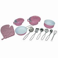 Pannenset roze tin / metaal; 13-delig (gv)