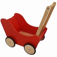 Poppenwagen rood; exclusief dekje (gv)