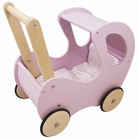 Poppenwagen roze klassiek met kap; inclusief dekje (gv)