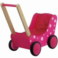 Poppenwagen met stip roze (gv)